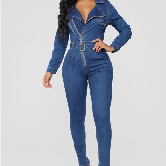 f087f051129 Fashion nova jean jumpsuit